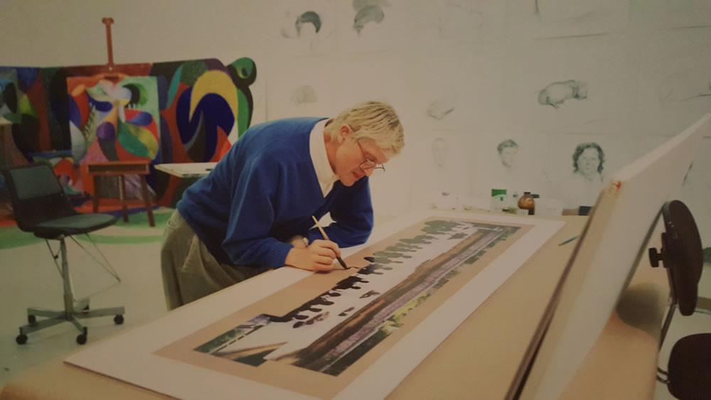 David Hockney in studio