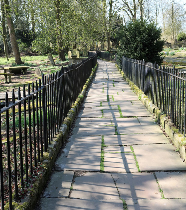 Church path with railings Haworth