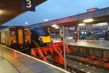 Bradford interchange trains in station