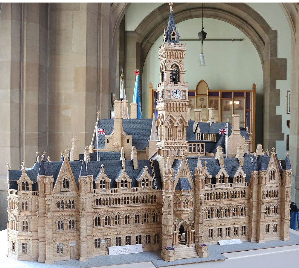 Minauture scale model of Bradford city hall