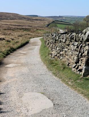Path with dry stone wall Haworth moor