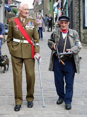 Two men in period costumes Haworth1940S