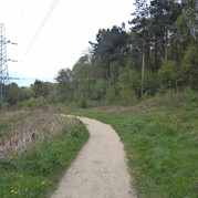 Curved path towards electric pylon
