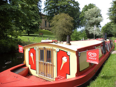 Ice cream barge at Saltaire