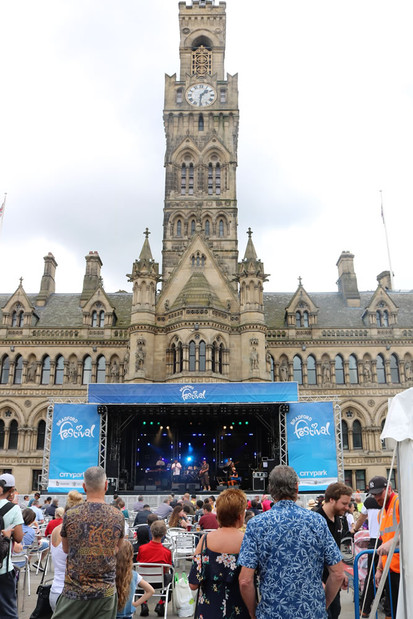 Stage in front of Bradford Town hall