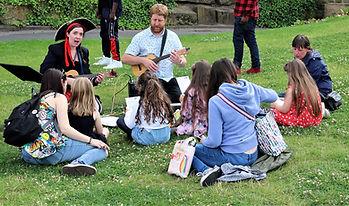 Bradford Children Making music in park