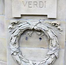 banstand  relief carving of Verdi