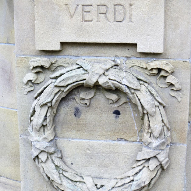 banstand  relief carving of Verdi