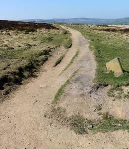 Stone book alongside footpath Haworth moor