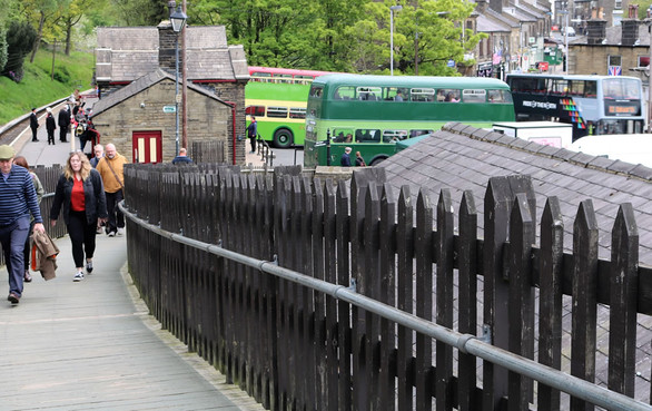 Vintage buses ferry visitors from Haworth station