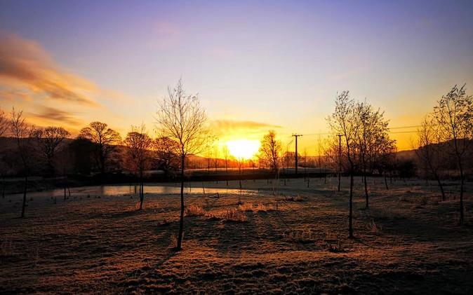 Sun up Silsden countryside