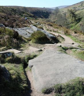 Large rocks on path to falls