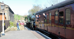 Steam loco leaving Oakworth station