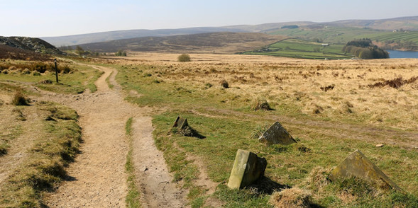 Bronte country footpath with stone books set into ground