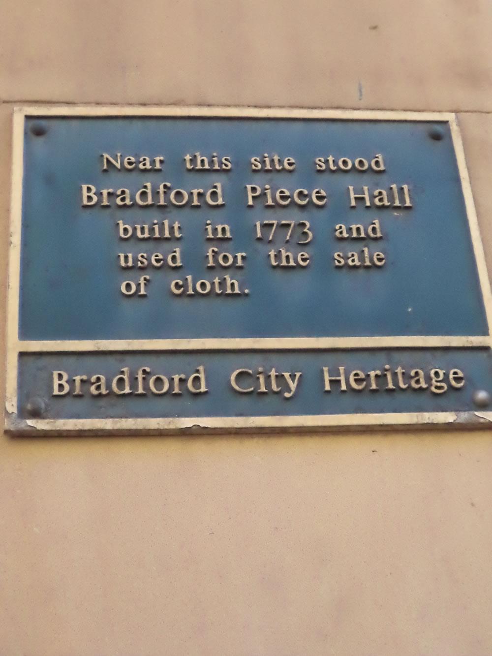 Bradford piece hall blue plaque