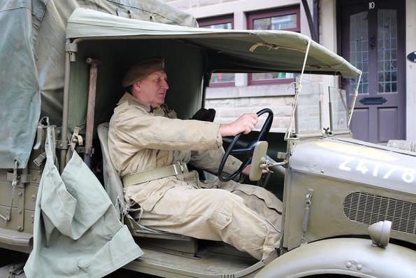 Reenactor in truck Haworth 1940s