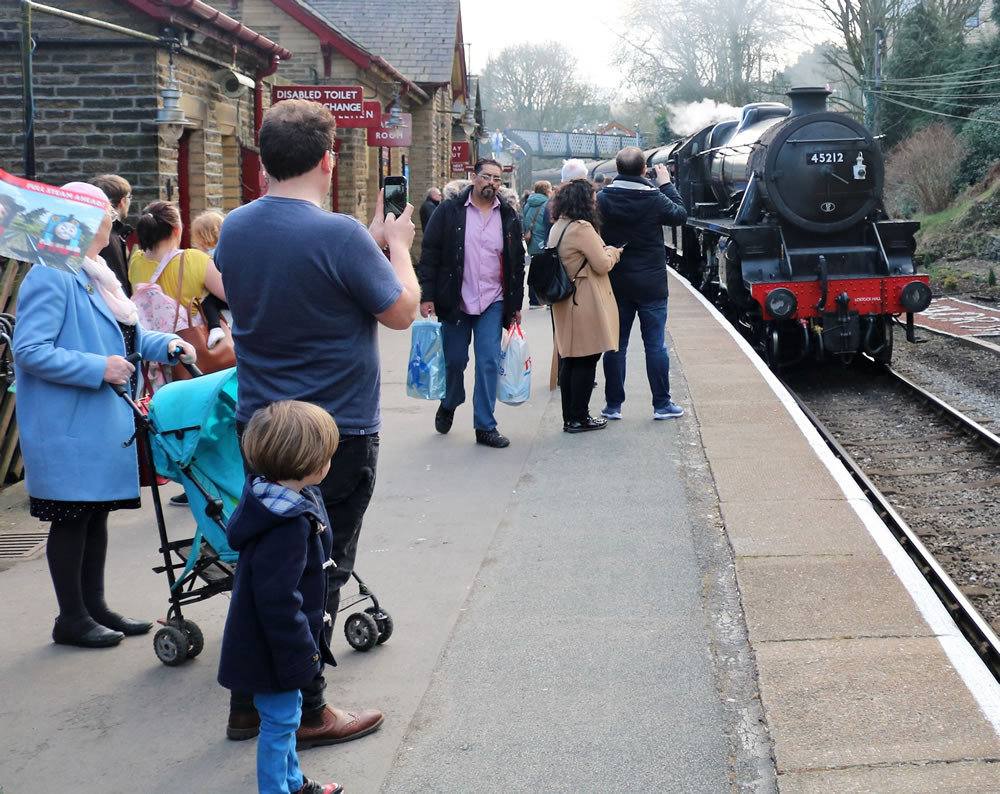 Steam loco at Haworth station