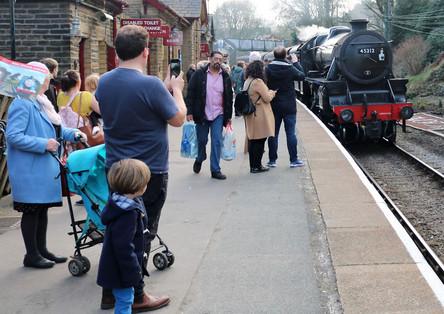 Steam loco at Haworth station