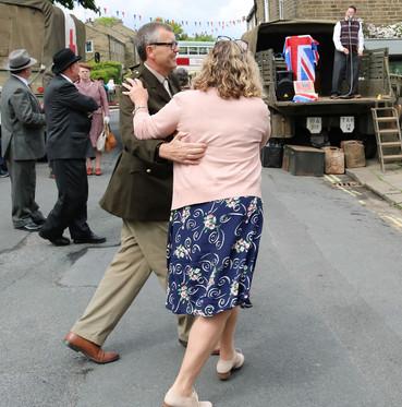 Jive dancing in the street Haworth 1940s