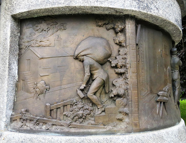 Bringing in the wool, a panel on a monument to Samuel Cunliffe