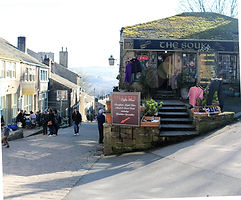 Haworth cobbled street Bronte country west Yorkshire
