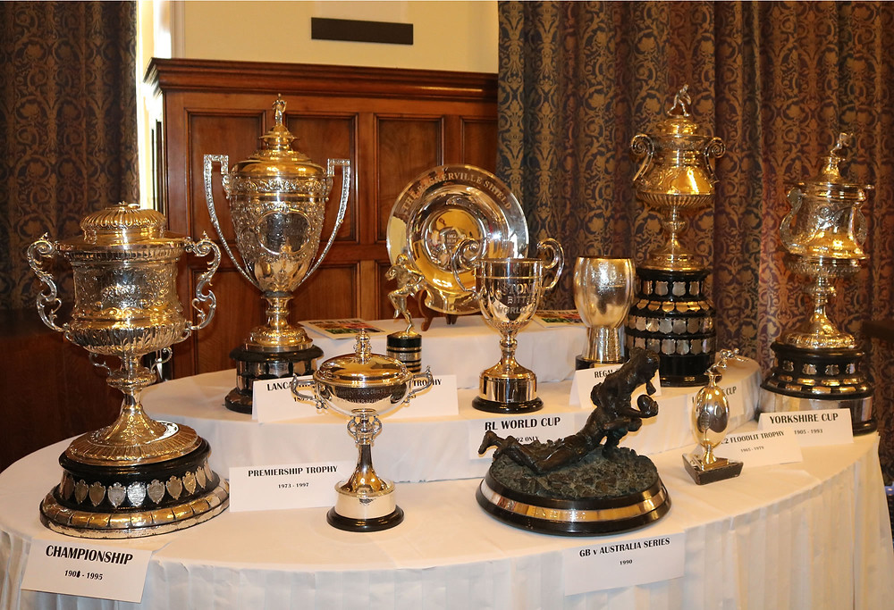 A collection of historic and rare trophies from the rugby league world