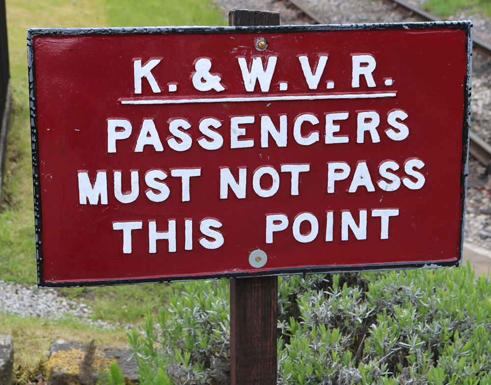 Sign at end of platform Oxenhope station
