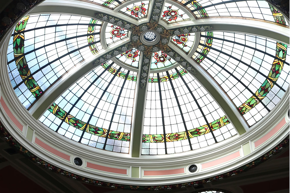 Bradford city hall stained glass roof.