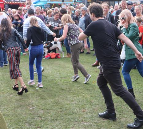 Dancing in Roberts park Saltaire festival