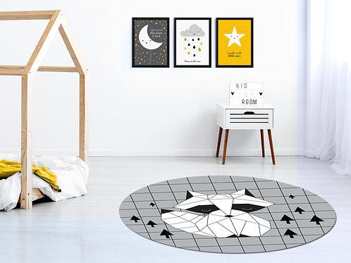 סט 3 הדפסים נורדי כוכב ענן ירח שחור לבן צהוב