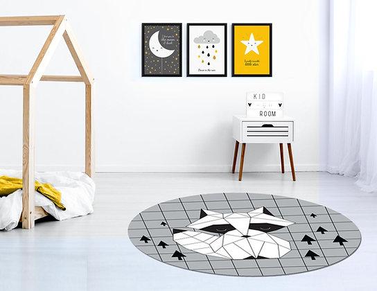 3 הדפסים נורדי כוכב ענן ירח שחור לבן צהוב