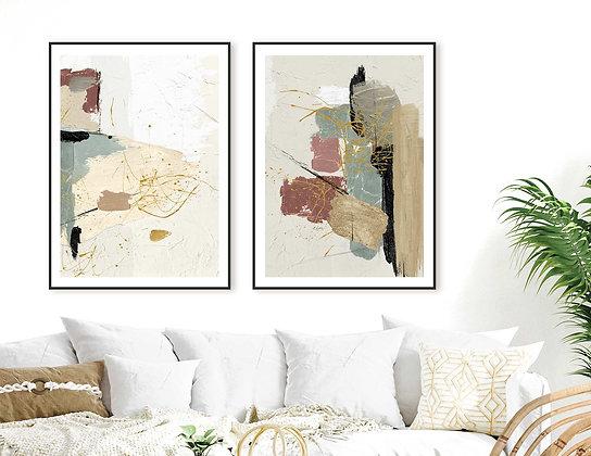2 הדפסים אבסטרקט בז׳ טורקיז ורוד