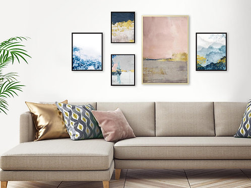 סט 5 הדפסים לקיר גלריה ורוד כחול אפור זהב ב׳