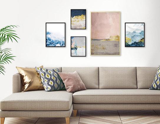 5 הדפסים לקיר גלריה ורוד כחול אפור זהב ב׳