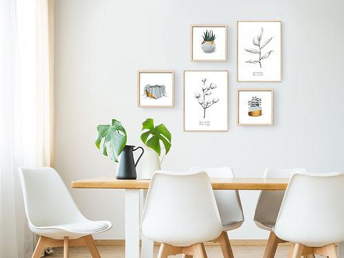 סט 5 הדפסים בוטניים לקיר גלריה צמחים וסוקולנטים בטון זהב