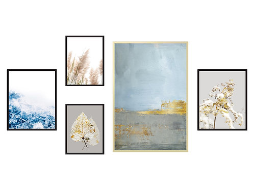 סט 5 הדפסים לקיר גלריה כחול אפור בז׳ זהב