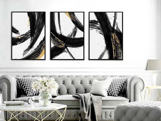 3 הדפסים אבסטרקט משיכות מכחול שחור לבן זהב