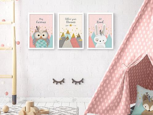 סט 3 הדפסים ארנב הרים וינשוף ורוד מנטה שמנת