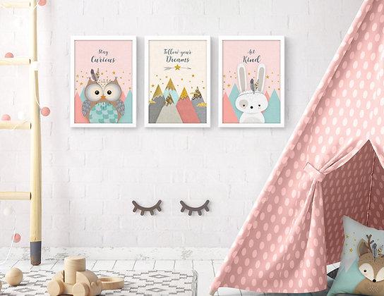 3 הדפסים חיות היער ארנב ינשוף ורוד מנטה שמנת