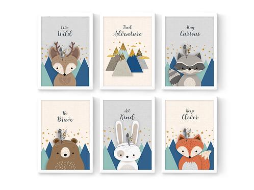 סט 6 הדפסים חיות היער כחול נייבי מנטה אפור ושמנת - איסוף מיריד החלומות בלבד