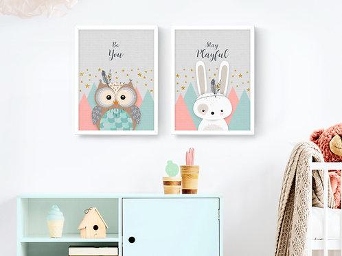 סט 2 הדפסים ארנב וינשוף וורוד מנטה