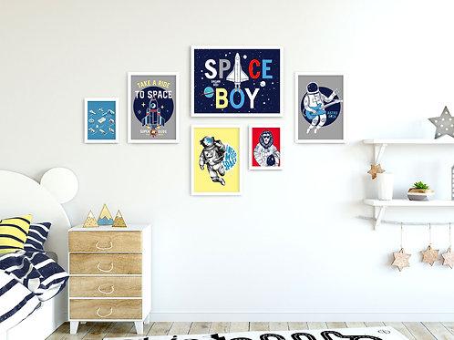 סט 6 הדפסים Space כחול צהוב אדום אפור