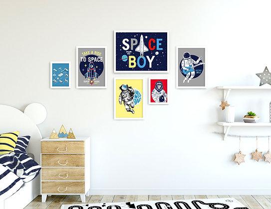 6 הדפסים Space כחול צהוב אדום אפור