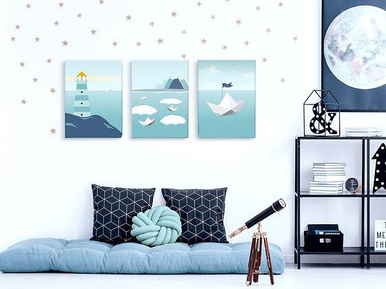 3 קנבסים little sailor מנטה כחול בעיטוף גלריה