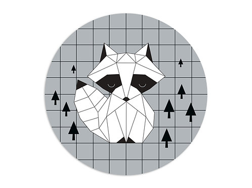 שטיח פיויסי עגול דביבון אוריגמי שחור לבן