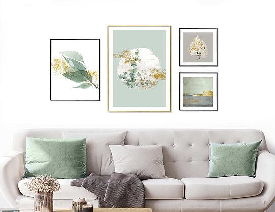 4 הדפסים לקיר גלריה ירוק אפור זהב
