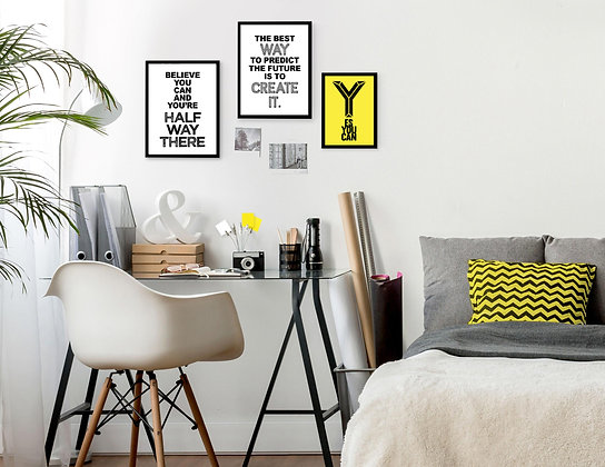3 הדפסים משפטי השראה בגוון שחור לבן צהוב