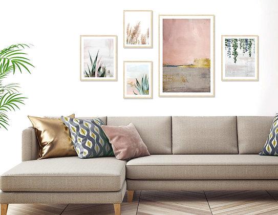 מציאון - 5 הדפסים אבסטרקט בוטני לקיר גלריה במסגרות עץ טבעי