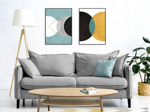 סט 2 הדפסים אבסטרקט עיגולים צהוב אפור טורקיז