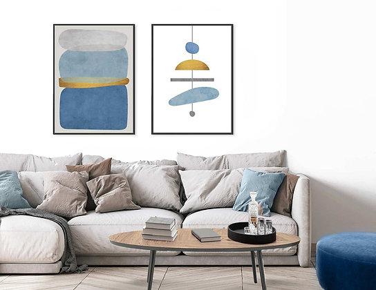 2 הדפסים אבסטרקט שנדליר כחול מנטה אפור צהוב